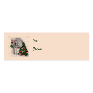 Christmas Tree in Window Gift Tags Business Card Templates