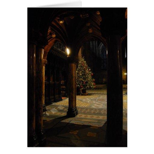 Christmas tree inside church cards