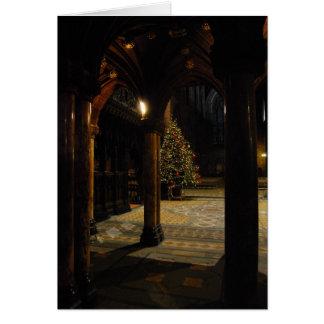 Christmas tree inside church greeting card