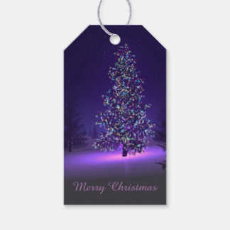 Christmas Tree Lite In The Snow Gift Tags