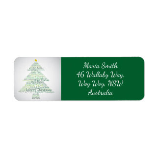 Christmas tree made of 'Merry Christmas' words Return Address Label