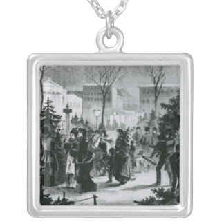 Christmas tree market in the Augustusplatz Silver Plated Necklace