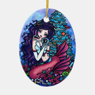 Christmas Tree Mermaid Presents Art by Hannah Lynn Christmas Ornament