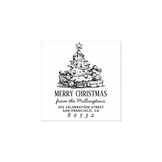 Christmas Tree Merry Christmas Name Return Address Rubber ...
