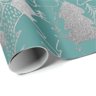 Christmas Tree Mint Teal Silver Gray Glitter Wood Wrapping Paper