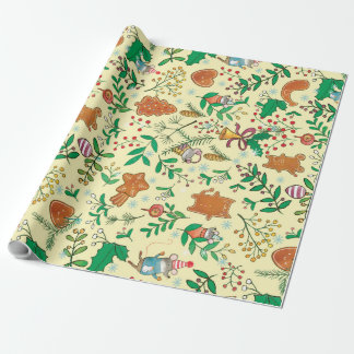 Christmas Tree, Mistletoe and Mice Wrapping Paper