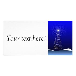 Christmas tree modern blue illustration photo card template