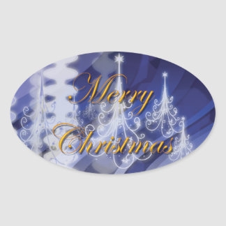 Christmas tree n modern snow oval sticker