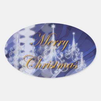 Christmas tree n modern snow oval sticker