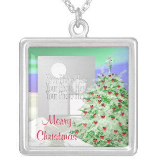 Christmas Tree of Hearts (photo frame) Square Pendant Necklace