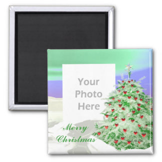 Christmas Tree of Hearts (photo frame) Square Magnet
