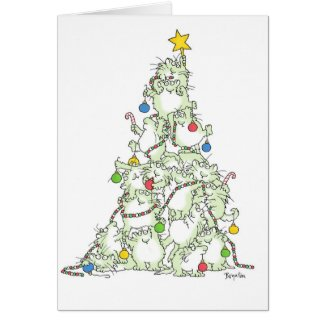 CHRISTMAS TREE OF KITTIES card