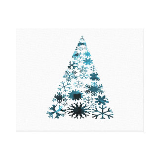 Christmas Tree of Snowflakes Green Mottled blue pn Gallery Wrap Canvas