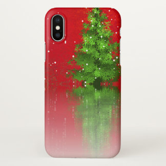 Christmas Tree on a Red Background | iPhone X Case