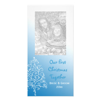 Christmas Tree on Blue First Christmas Together Customised Photo Card