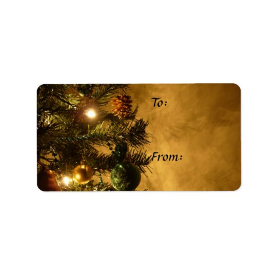Christmas Tree on Gold Gift Tag