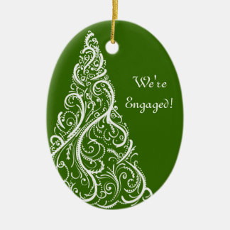 Christmas Tree on Green Winter Engagement Christmas Ornament