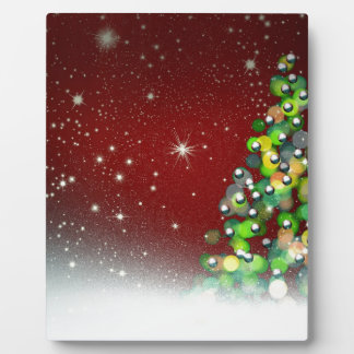 Christmas Tree on Red Background Plaque