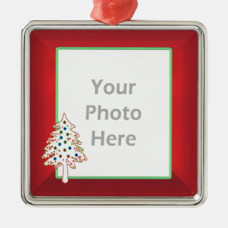 Christmas Tree on Red (photo frame) Christmas Ornament