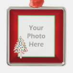 Christmas Tree on Red (photo frame) Ornaments