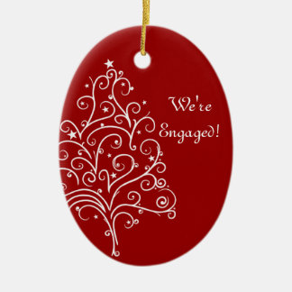 Christmas Tree on Red Winter Engagement Christmas Ornament