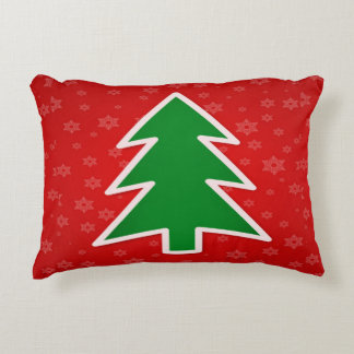 Christmas Tree on Red With Snowflakes Decorative Cushion