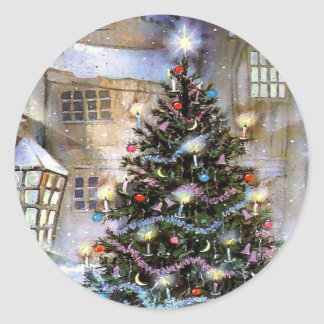 Christmas tree on street classic round sticker