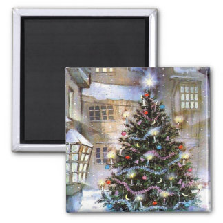 Christmas tree on street square magnet