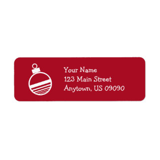 Christmas Tree Ornament Address Labels (Burgandy)