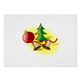 Christmas Tree Ornament and Bells Posters