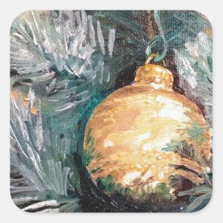 Christmas Tree Ornament Gold Square Sticker