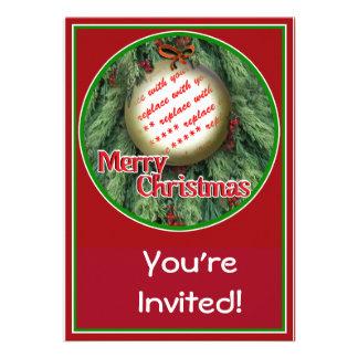 Christmas Tree Ornament Photo Frame Custom Announcements
