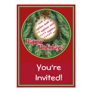 Christmas Tree Ornament Photo Frame 5x7 Paper Invitation Card