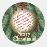 Christmas Tree Ornament Photo Frame Round Sticker