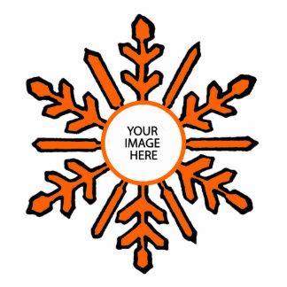 Christmas Tree Ornament Snowflake 1 Orange  White Photo Sculpture Decoration