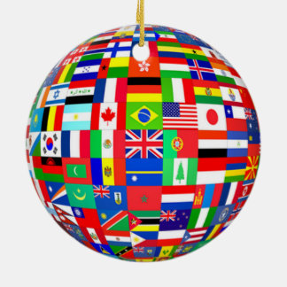 CHRISTMAS TREE ORNAMENT WORLD FLAGS