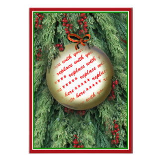 Christmas Tree Ornaments Photo Frame Personalized Invitation