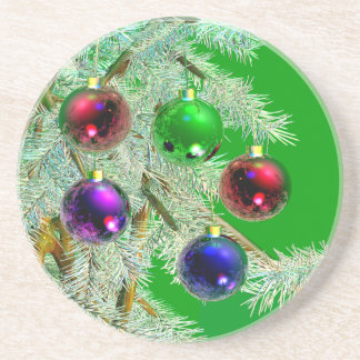 Christmas Tree Ornaments Shine on Green Coaster