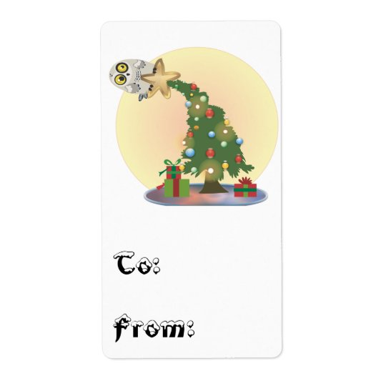 Christmas Tree Owl~ To & From Stickers Shipping Label