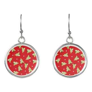Christmas Tree Party Red and Green Earrings