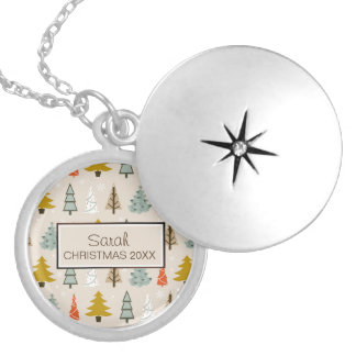 Christmas Tree Pattern Modern ID175 Locket Necklace