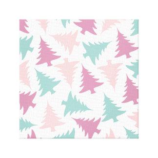 Christmas tree pattern pastel pink purple green canvas print