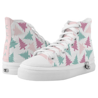 Christmas tree pattern pastel pink purple green high tops