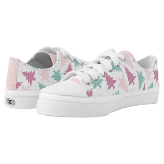 Christmas tree pattern pastel pink purple green low tops