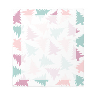 Christmas tree pattern pastel pink purple green notepad