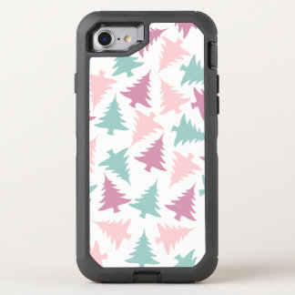 Christmas tree pattern pastel pink purple green OtterBox defender iPhone 8/7 case