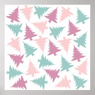 Christmas tree pattern pastel pink purple green poster