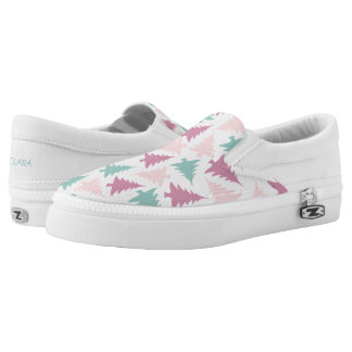 Christmas tree pattern pastel pink purple green Slip-On shoes
