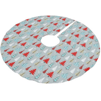 Christmas Tree Pattern Red and Blue ID175 Brushed Polyester Tree Skirt