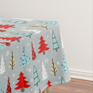 Christmas Tree Pattern Red and Blue ID175 Tablecloth